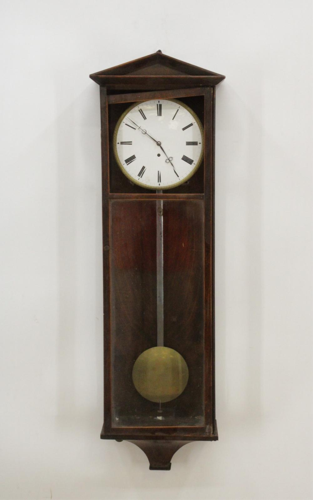 VICTORIAN INLAID MAHOGANY REGULATOR CLOCK, 19TH C.