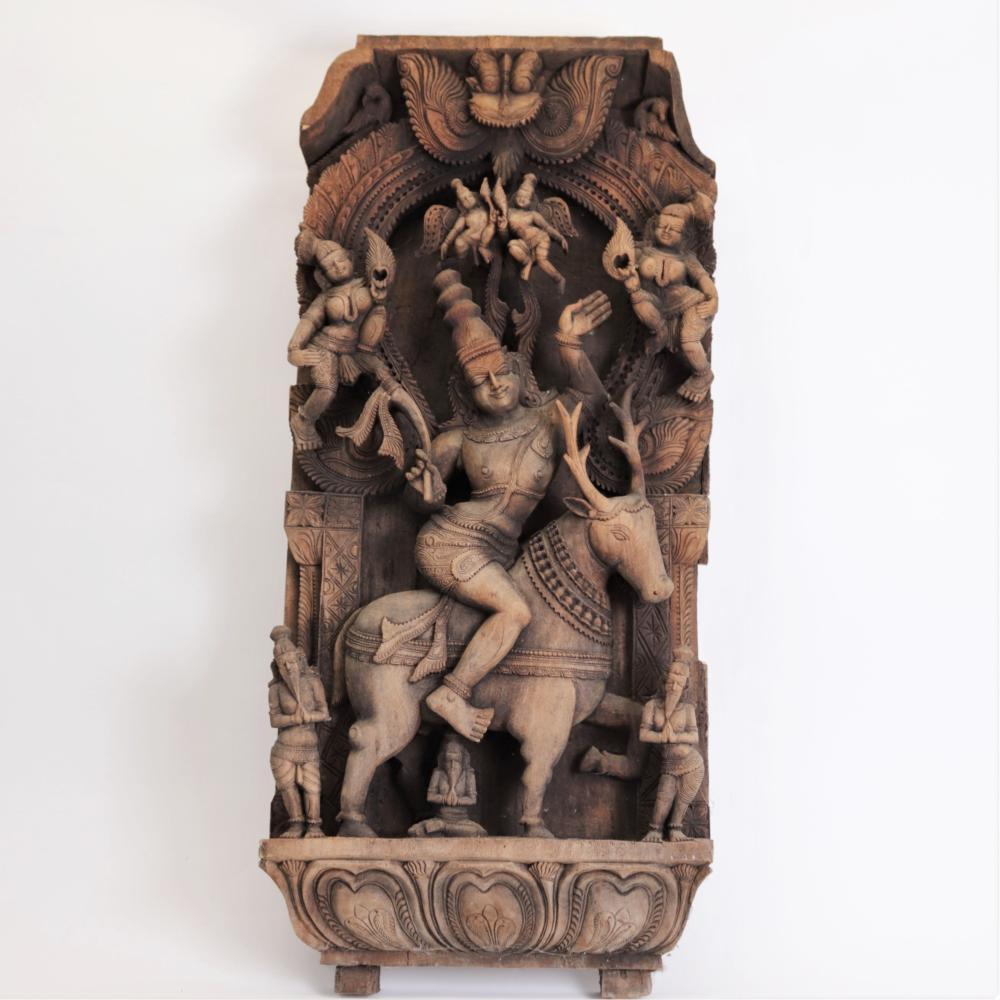 INDIAN CARVED TEAK ALTAR OF GODDESS VENU