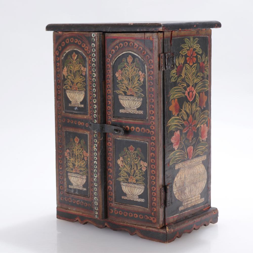 COLONIAL STYLE POLYCHROMED MINIATURE ARMOIRE