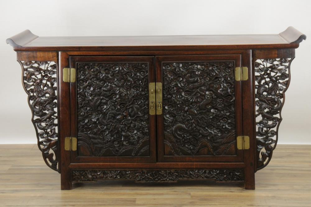 CHINESE STYLE CARVED HARDWOOD ALTAR CABINET