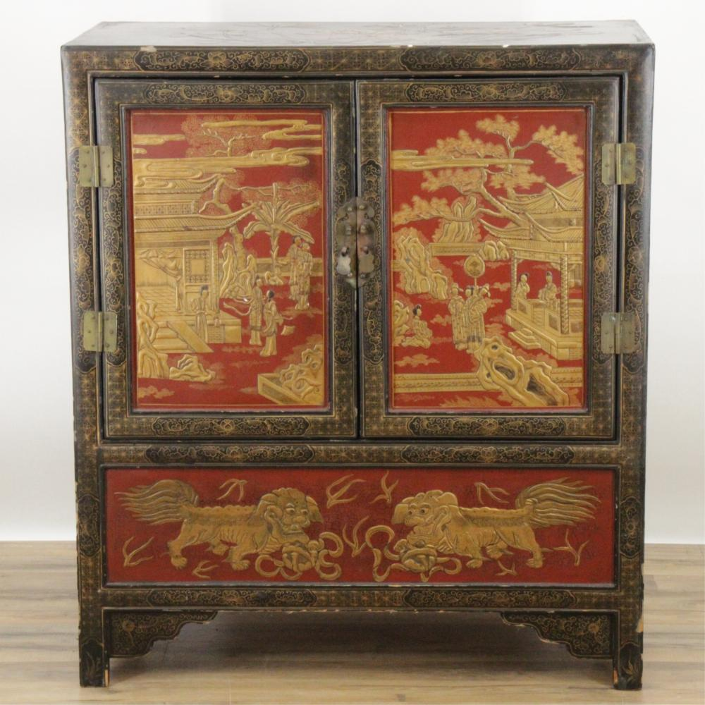 CHINESE GILT BLACK SCARLET LACQUER CABINET
