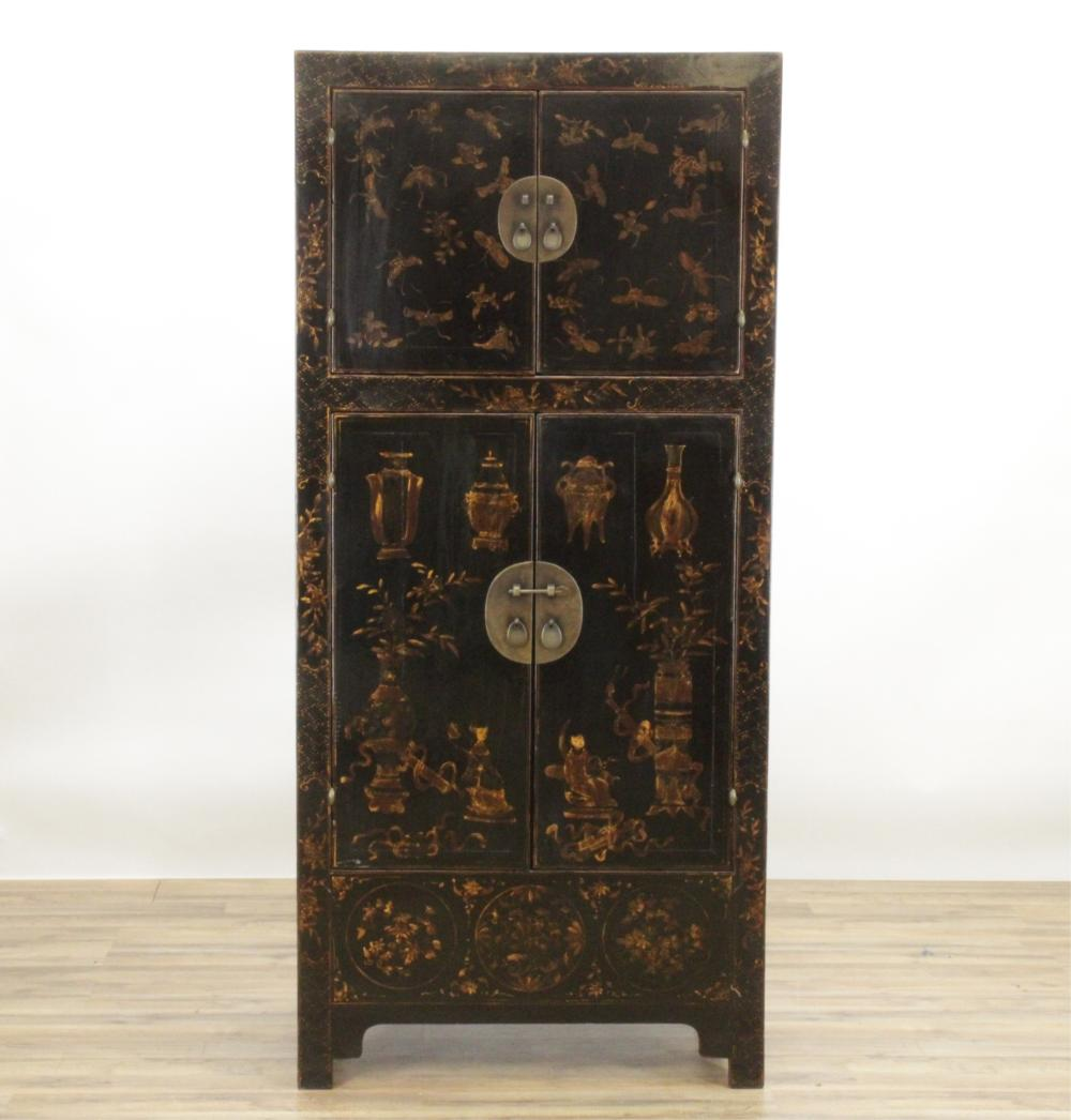 CHINESE LACQUERED TALL CABINET
