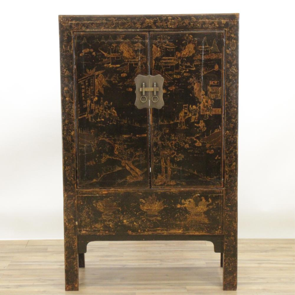 CHINESE LACQUER STORAGE CABINET