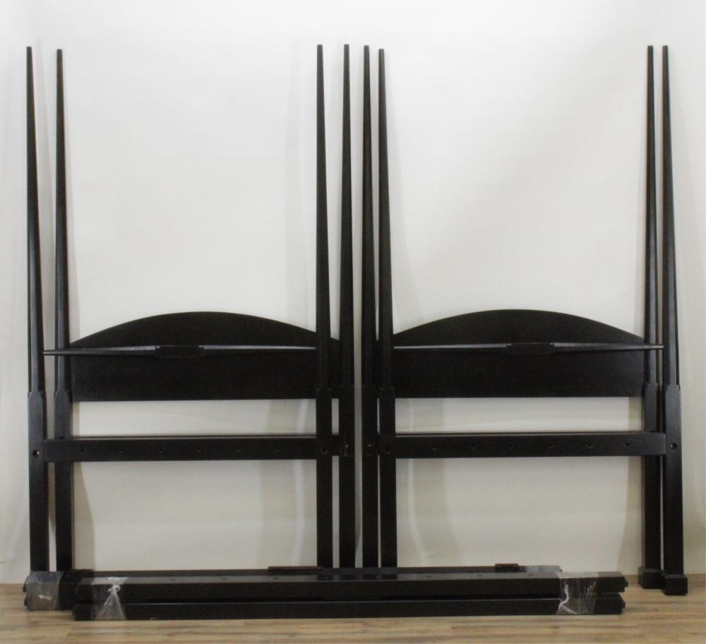 PAIR OF CHARLES E. THIBEAU 4 POST TWIN BEDS
