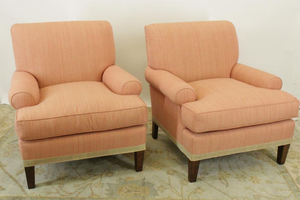 PAIR OF O'HENRY HOWE LTD. UPHOLSTERED ARMCHAIRS