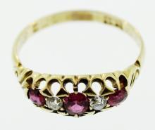 18K Gold, Ruby & Diamond Ring, Edwardian