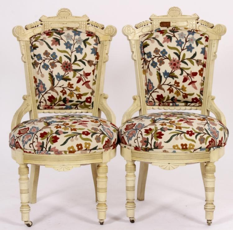 Pair Ivory Painted Victorian Chairs W Crewel Work