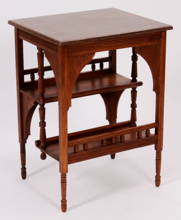 Eastlake Book Table With Marble Top 19th C