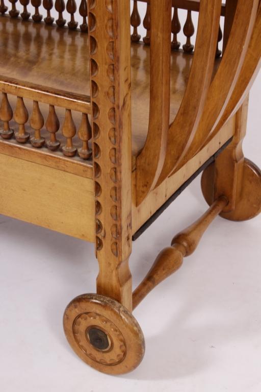 Art deco maple and japanese tamo wood cart
