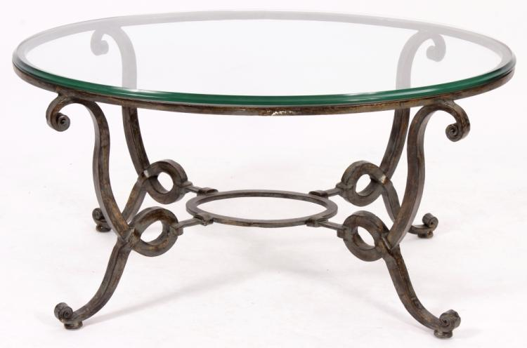 Wrought iron oval coffee table w glass top 20th c for Oval wrought iron coffee table with glass top