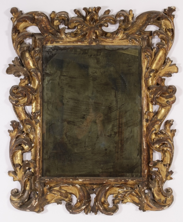 Italian Baroque Carved Giltwood Frame Mirror 18th