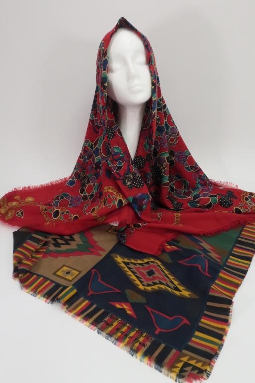 four designer wool scarves shawls