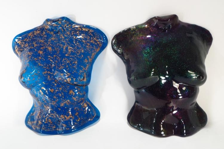 Garry Buck,Am., 2 Torsos,molded glass,signed