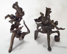 Harry Baron Abstract Bronze Seated Figures