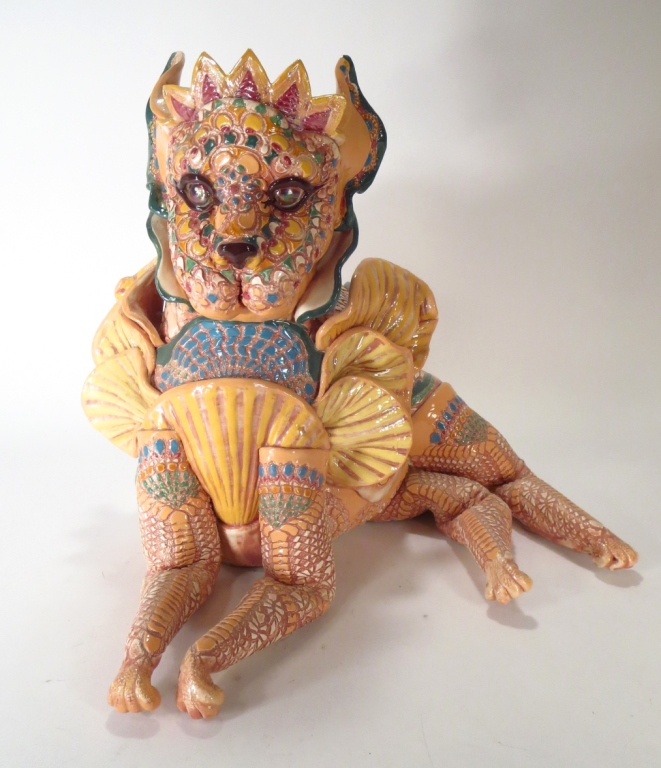 J. Barber, Ceramic Mythical Cat with Tiara