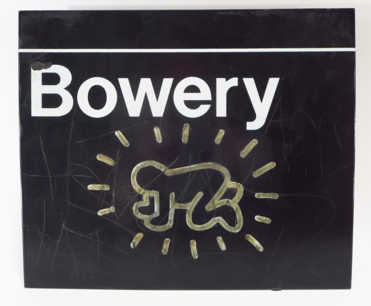Attrib to Keith Haring Bowery Sign w/ Graffiti 20th C.