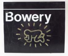 Attrib to Keith Haring Bowery Sign w/ Graffiti 20th C.