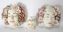 Jillian Barber Ceramic Masks and Perfume Bottle