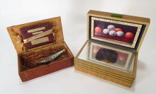2 Found Art Assemblages in Wooden Boxes,20th C.