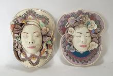 J. Barber, 2 Ceramic Dragon Masks,Shells, Bird