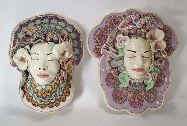 J. Barber, 2 Ceramic Dragon Masks, Florals, Shells
