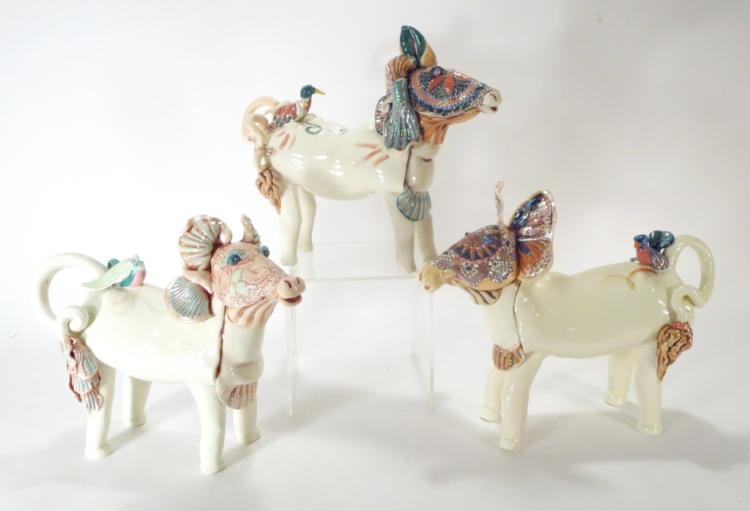 J. Barber, 3 Ceramic Mythical Animals with Birds