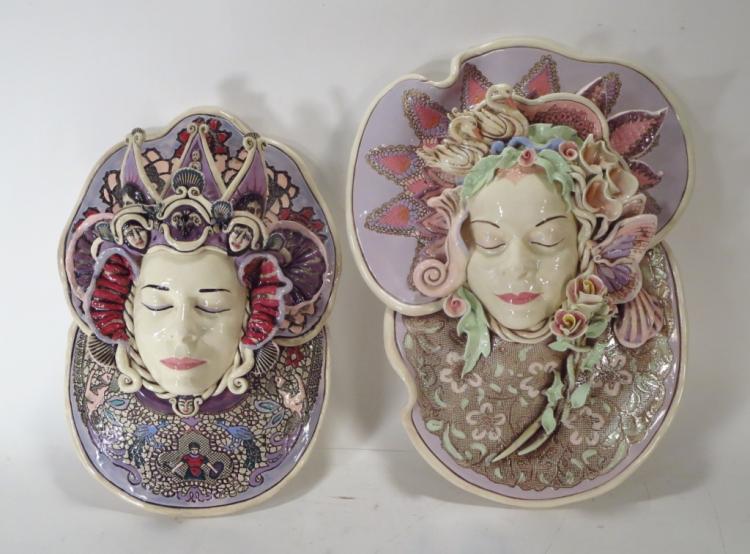 J. Barber, 2 Ceramic Masks with Swans & Masks