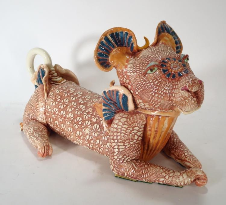 J. Barber, Ceramic Mythical Dog with Crescent Moon