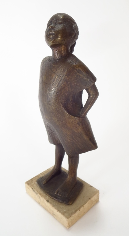 Robert Cook, Bronze Sculpture of a Girl, Signed.