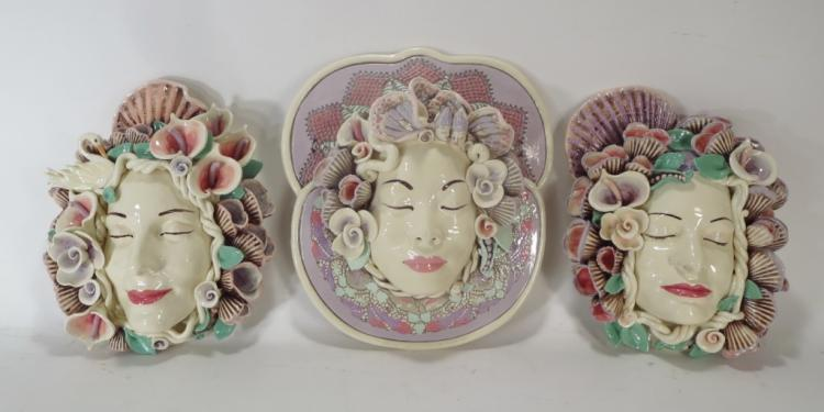 Jillian Barber, 3 Ceramic Floral & Seashell Masks