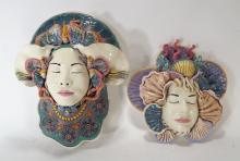 J. Barber, 2 Ceramic Masks with Seahorse & Shells