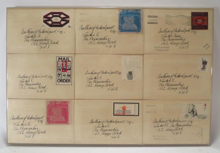STAMP OUT ART, Framed Group of Nine Envelopes 1971