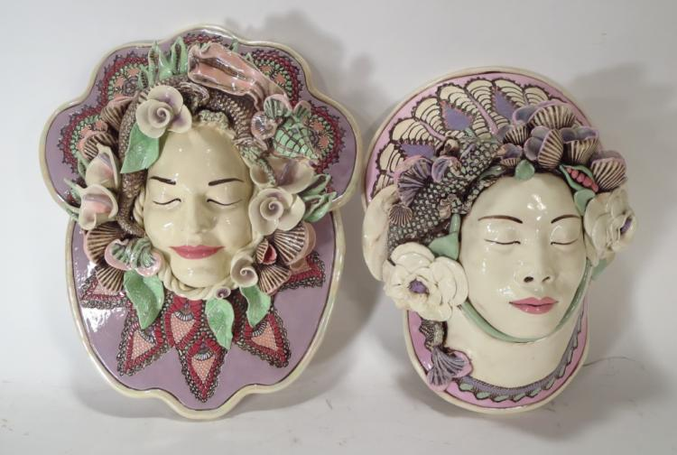 J. Barber, 2 Ceramic Dragon Masks, Florals, Shells