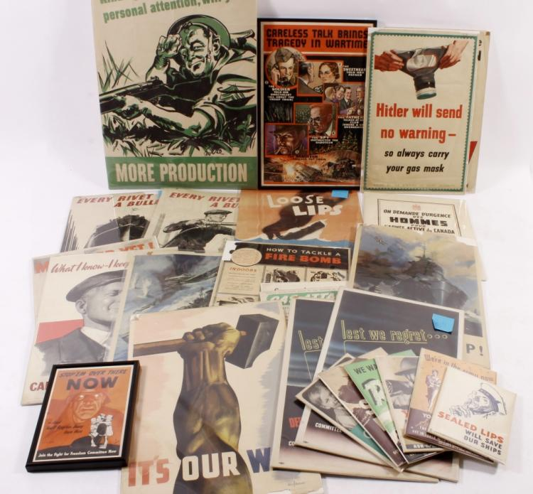 Lot of 28 WWII Original Vintage Posters & Others