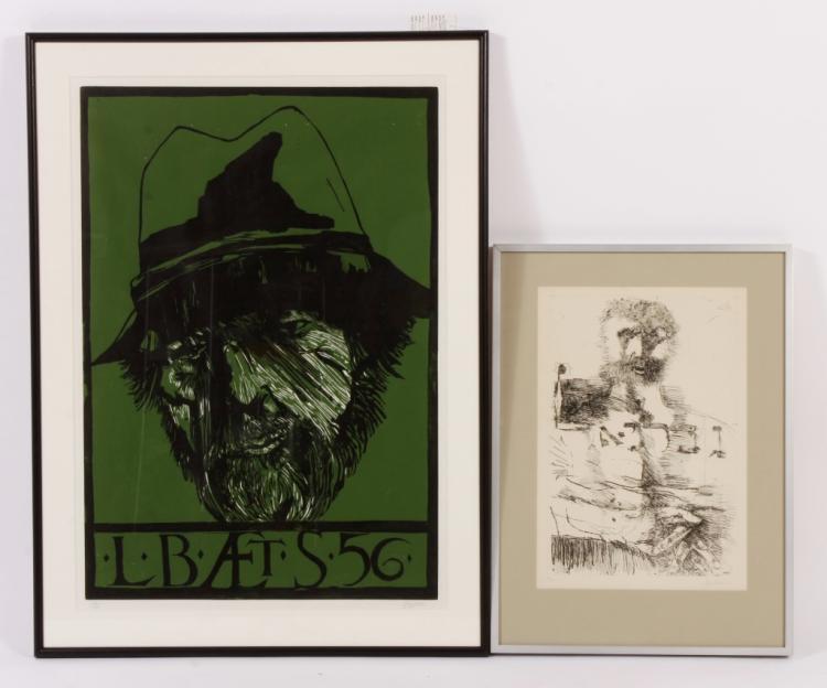 2 Leonard Baskin Prints, Self Portrait & Gabriel