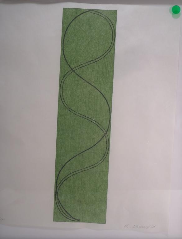 Robert Mangold, Green Column Figure, signed