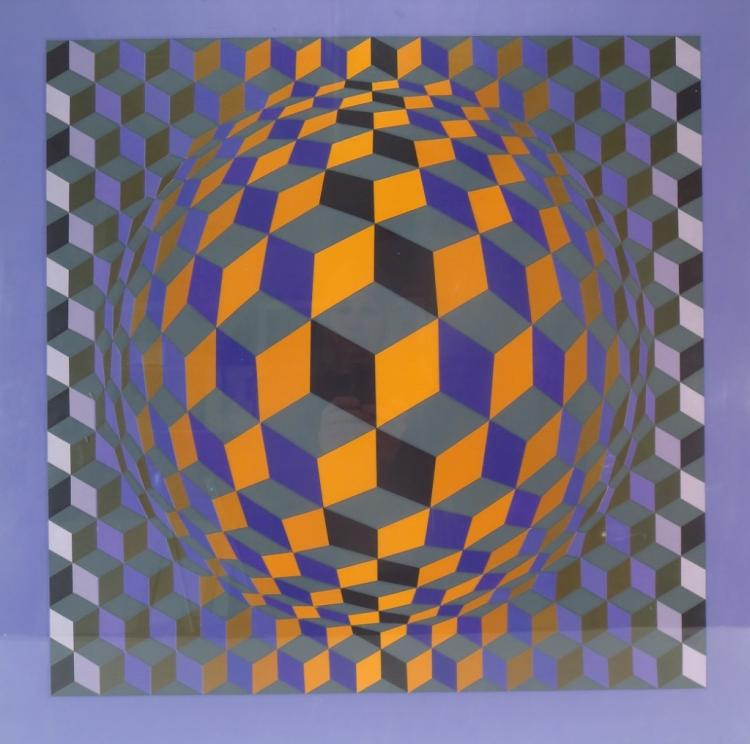 Vasarely, 1906-1997, Orb in Cube, Screenprint