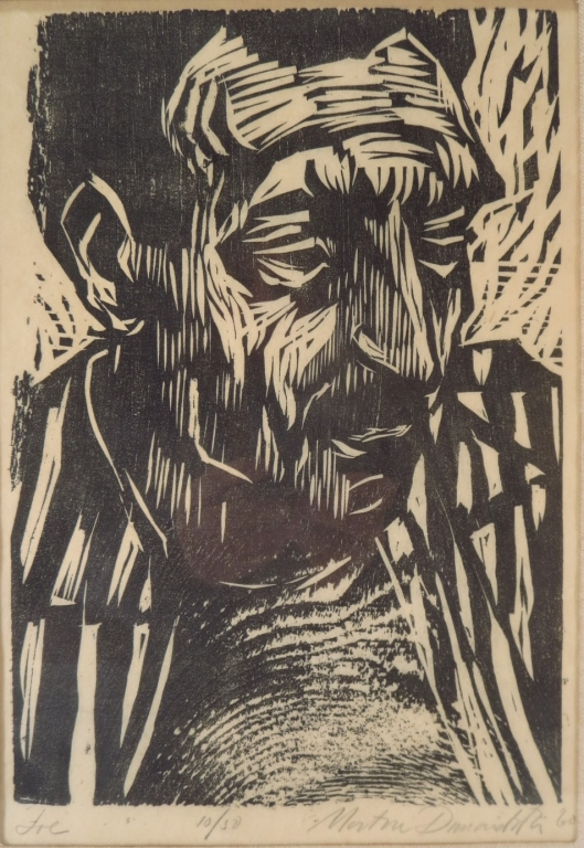 Portrait of Joe Woodcut 20th C.
