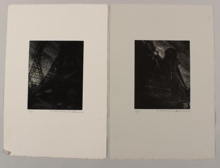Am. Sch., 2001, 2 Intagio Prints of NY Bridges