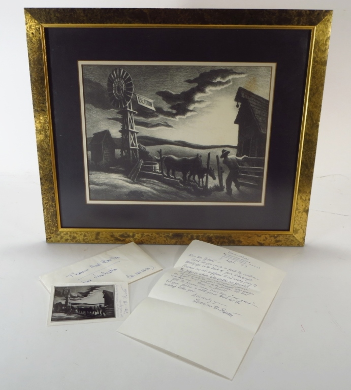 Thomas Hart Benton Lithograph Signed Letter Photo