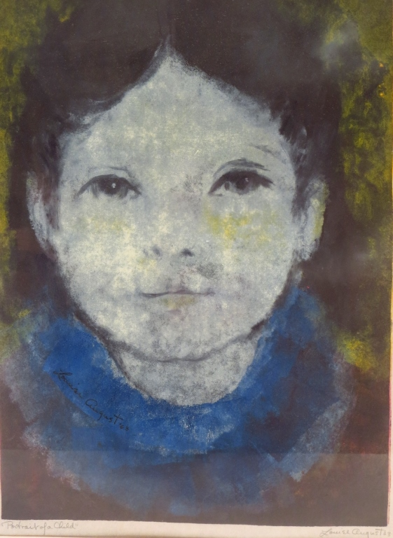 Louise August, 20th C.,Portrait of Child,serigraph