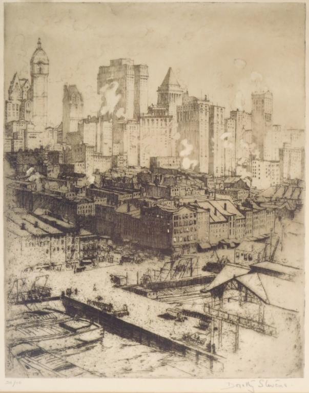 Dorothy Austin Stevens,Cityscape,etching,signed