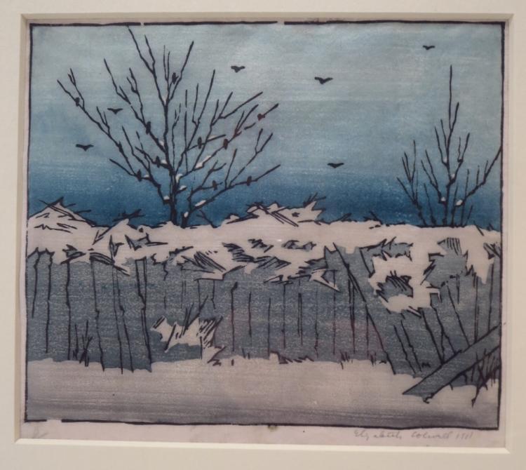 E. Colwell, Winter Scene, 1911, Woodblock Print.