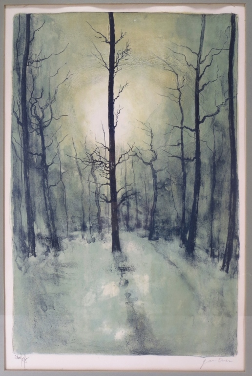 B. Gantner, Trees in Winter, Print, Signed.