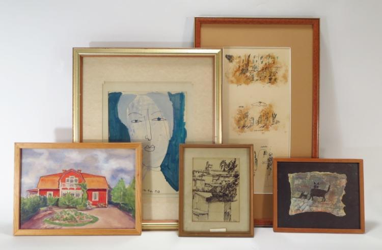 Madeleine Pyk, Swe., b.1934, 5 Misc. Artworks