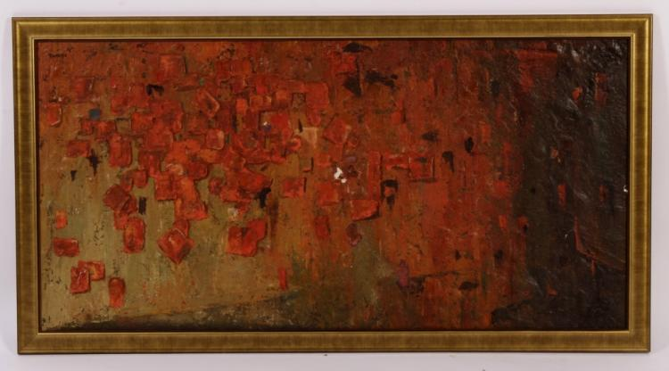 Botello Abstract Oil & Mixed Media on Wood Panel