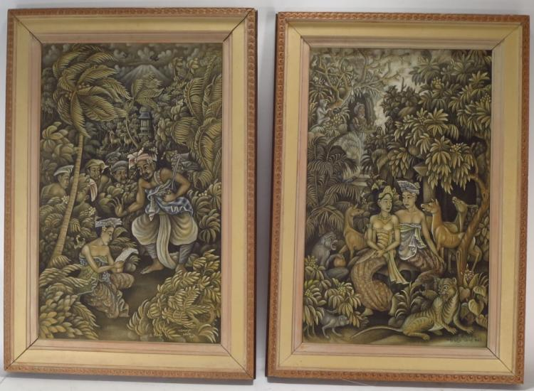 K. Madja, Bali, 20th c., Pr. Mythical Scenes, Oils