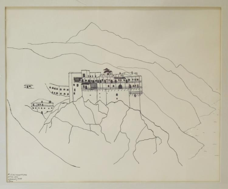 20th c., Greek Monastery on Mt Athos, Pen and Ink
