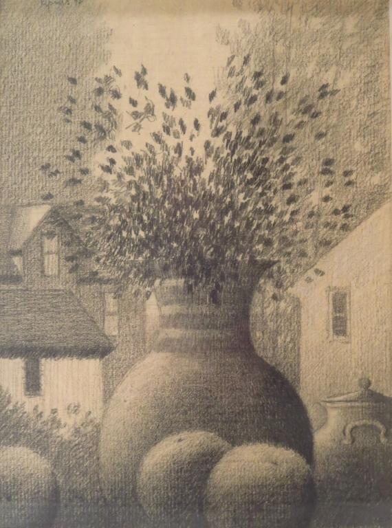 Robert Kipness, Am.,Vase and Landscape,signed
