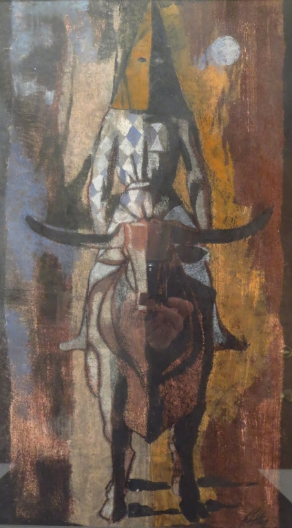 R. Ritter: Hooded Rider, Pastel, Signed